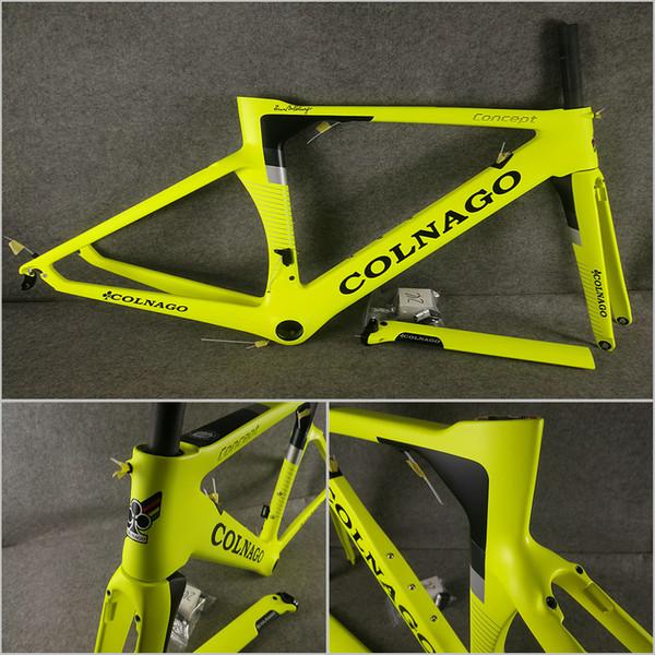Floresan Sarı T1000 UD Mat Colnago Konsept karbon yol bisikleti frameset Çerçeve Çatal Seatpost Kulaklık Calmp ücretsiz kargo