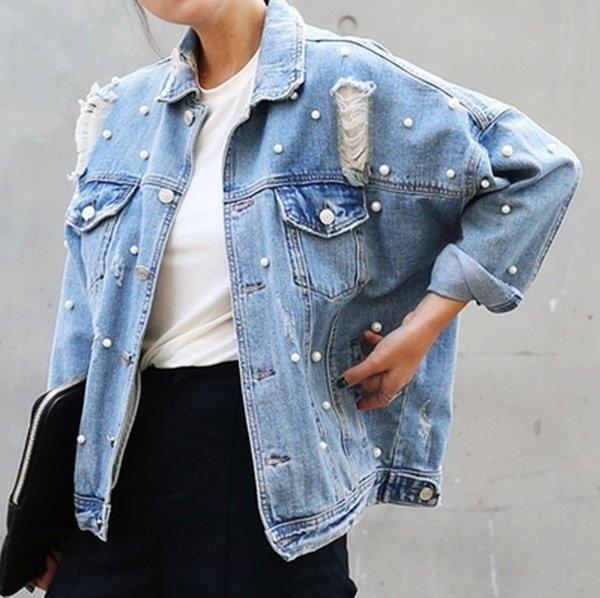 Denim jacket long sleeve coats women loose rhinestone beaded elegant vintage hole girls jeans jackets coat plus size