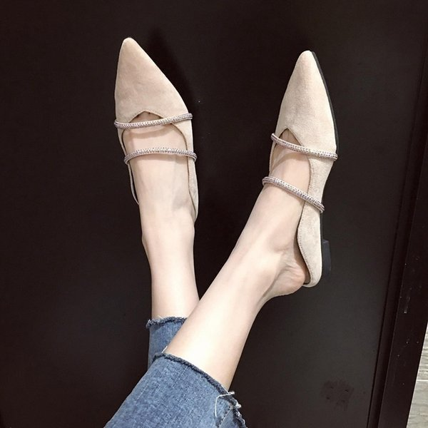 Pretty2019 Autumn Early Slipper Sharp Flat Bottom Rhinestone Set Foot Women's Singles Shoe Comfortable Fairy Fund
