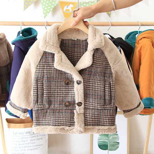 best selling Girl Lamb Hair Loose Coat Dress Children Thickening Long Coltsfoot Season Overcoat Autumn Girls Jackets Kids Clothes