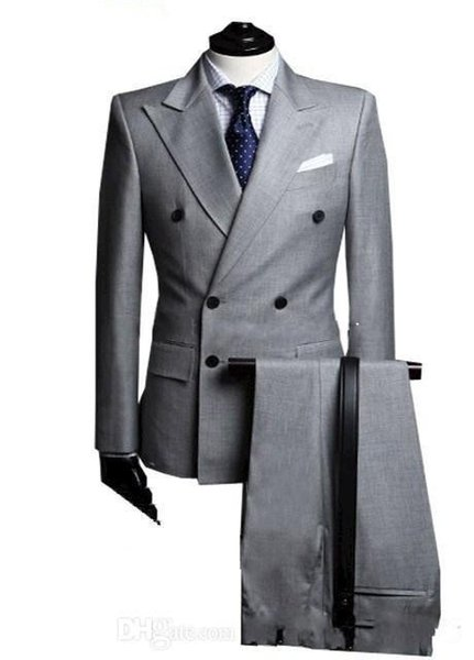 Double-Breasted Side Vent Light Grey Groom Tuxedos Peak Lapel Groomsmen Mens Wedding Tuxedos Prom Suits (Jacket+Pants+Tie)