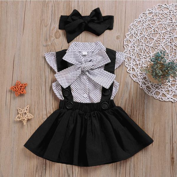 3шт / набор Детский костюм лук тиара + горошек рубашка + ремень юбка-девочка костюм ребенка Рождество костюм