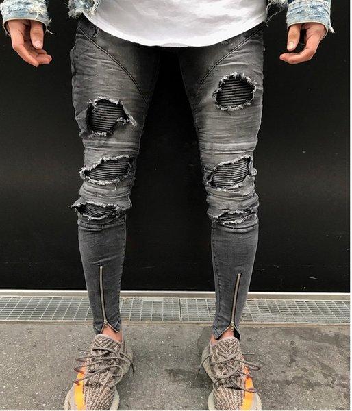 Herren Ripped Destroyed Stretchy Knie Löcher Slim Tapered Leg Jeans Denim Pants