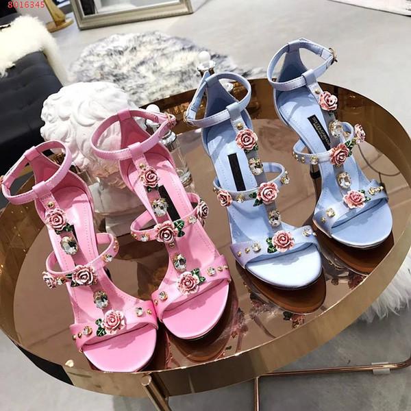 Hot Sale- femmes haut talon sandales célèbre marque fleur décorer la robe de soirée de mariage robe de bal d'étudiants de chaussures de mariage