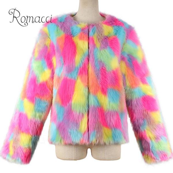 XXXL Plus Size Fluffy Coat Women Faux Fur Jacket Multicolor Color Block Long Sleeve Fur coat Hairy Warm Winter Slim Outerwear