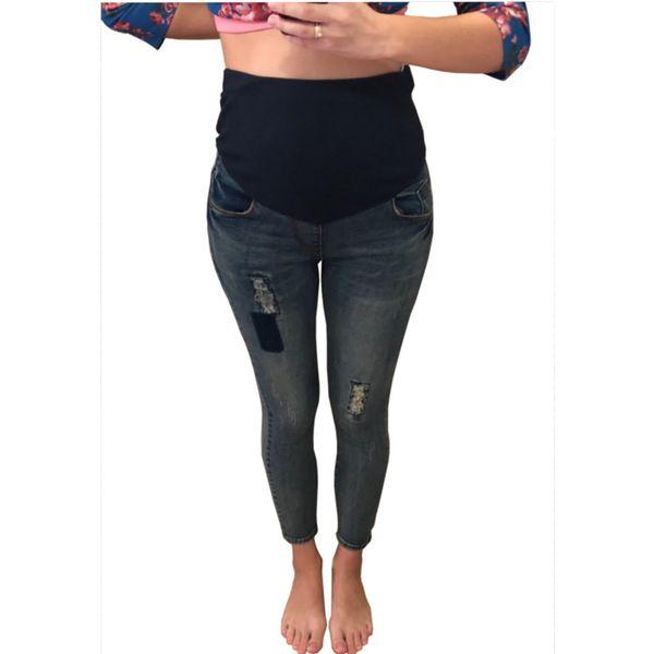 Maternidade Jeans raspadinhas Jeans cintura elástica para Gestantes Skinny Jeans Barriga Com Furos Gravidez Calças Denim Pencil