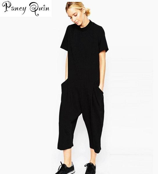 2019 Summer Black Rompers Womens Jumpsuit Elegant Side Pocket Loose-fitting Combinaison Femme Romper Overalls Jumpsuit For Women MX190726