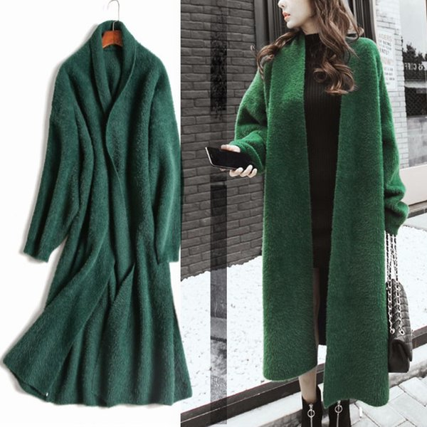 Mink Synthetic Cashmere Sweater Cardigan Women Korean Winter Coat Batwing Sleeve Knitted Long Cardigan Thick Plus Size Sweaters