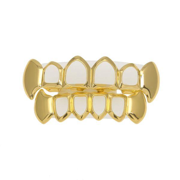 Hip Hop dientes huecos grillz Set para hombre superior inferior Faux Dental diente Grills mujeres Hiphop Rapper Body joyería regalo