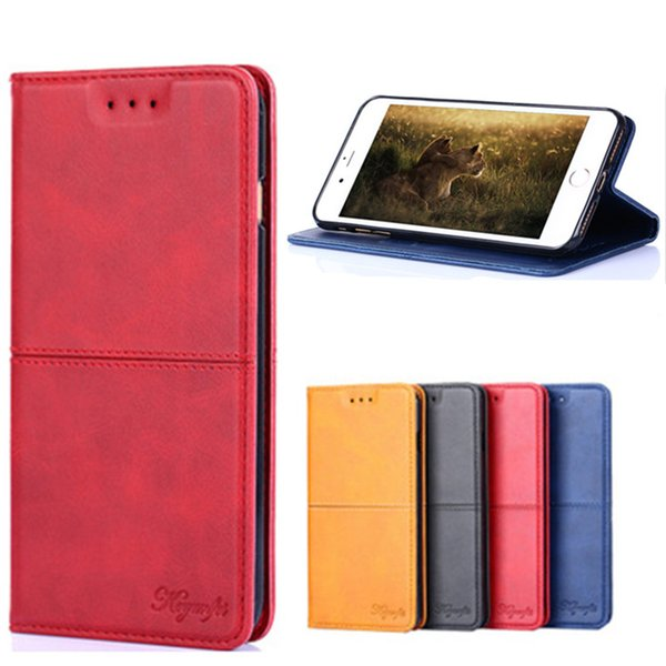 For iPhone X XR XS MAX 6 6S 7 8 PLUS Business Advanced Credit Card Slot Photo Frame Wallet PU Leather Phone Case For Samsung S8 S9 S10 Plus