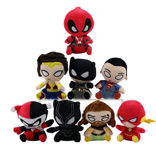 2019 12-14cm peluche de dessin animé Justice League poupée Batman Wonder Woman Aquaman Le flash Black Panther Joker poupée douce en peluche