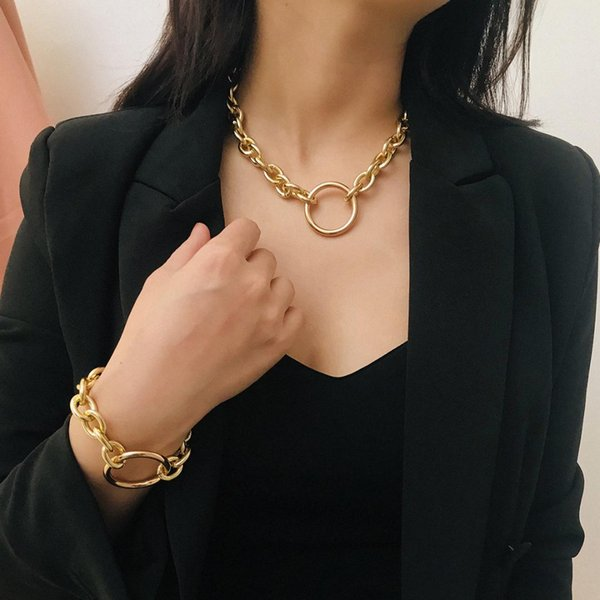 Fashion Punk Matel Circle Thick chain Choker necklace Bracelet Collier Jewelry Set For Women Simple Hiphop Cuban Chain Party New