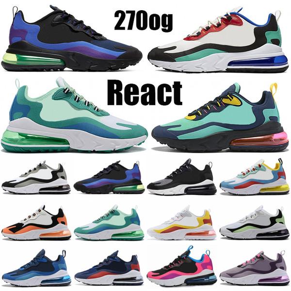 best selling Cheap React 270OG Mens Womens Designer shoes Bauhaus Triple Black Heavy Metal Geometric Art Optical hyper jade mesh Running Sneakers Trainer