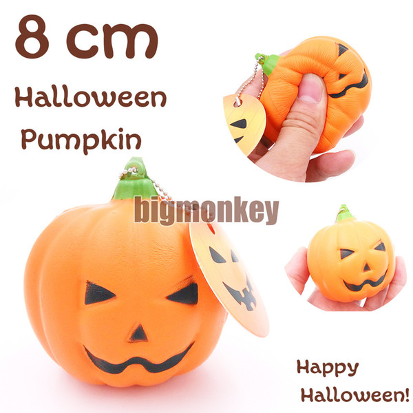 Big Monkey New 20Pcs /Lots Slow Rising Pu Smiling Face Halloween Pumpkins Squishy Charm Mobile Phone Strap