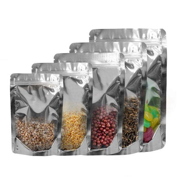 Stand Up Ön Temizle Alüminyum Folyo Zip Kilit Çanta Gümüş Metalik Plastik Gıda Kahve Otlar Mylar Paketi için Açılıp Kapanabilir Ambalaj Kılıfı