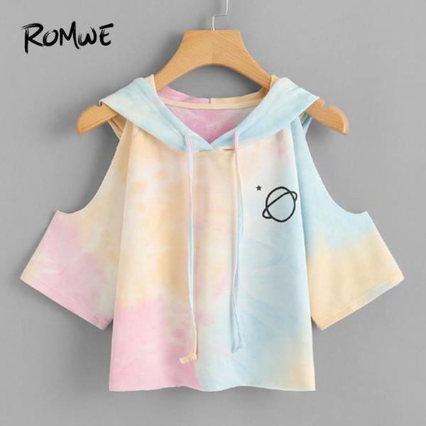 Romwe Open Shoulder Water Color Hooded Tee Shirt Multicolor 3/4 Sleeve Tie Dye Women Top Drawsting Casual Crop T Shirt Y19061001