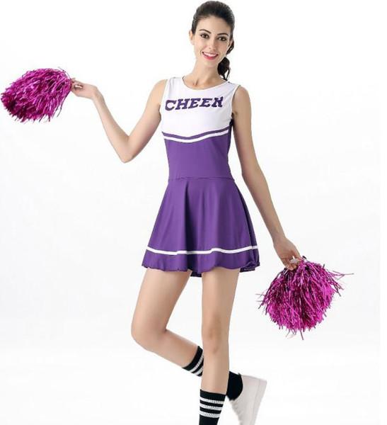2018 heißer Verkauf Cheerleading Stadium Kleidung sechs-Farben-Cheerleading Uniformen passt Aerobic-Kostüme ärmelloses Kleid Basketball Uniformen