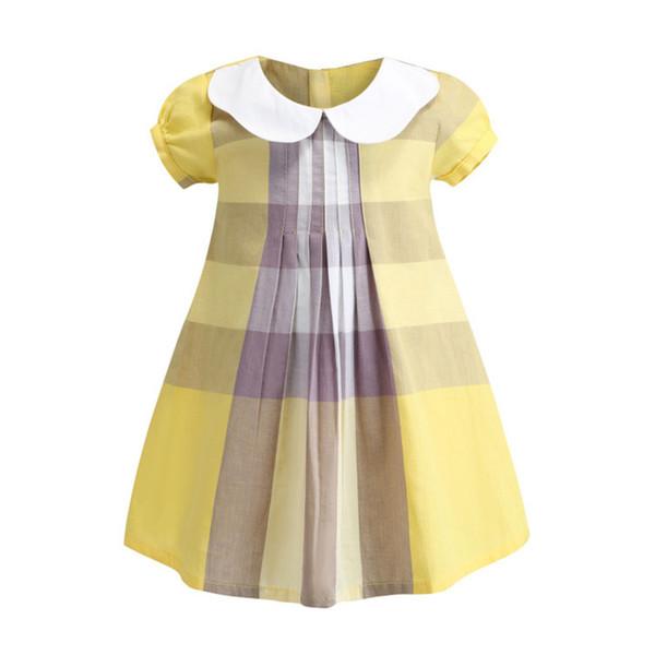 Hohe qualität kinder mädchen kleid sommer kurzarm revers baumwolle rüschen mädchen party kleid prinzessin geburtstag kleider