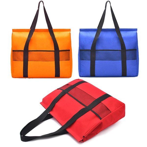 Waterproof Thick Insulation Lunch Bag Kitchen Fastening Tape Solid Square 2 Front Pocket Storage Tools
