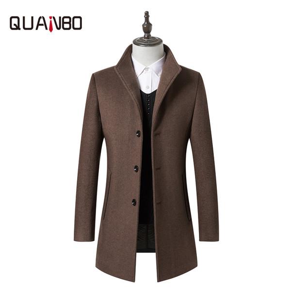 QUANBO Marca Roupa 2019 Nova Moda Outono Inverno Juventude lã Casual Mistura jaqueta grossa Quente Masculino Magro longo de lã