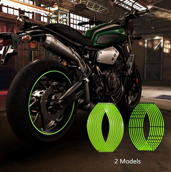 Newbee 16 Unids Tiras de La Motocicleta Etiqueta Engomada de la Rueda Calcomanías Reflectantes Borde Cinta Bicicleta Car Styling Para YAMAHA HONDA SUZUKI Harley BMW