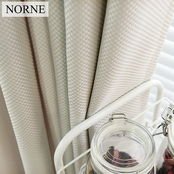 NORNE Solid Color Faux Linen Checker Drapes Room Darkening Curtains for Living Room Bedroom Window Curtain Kitchen Door Blinds