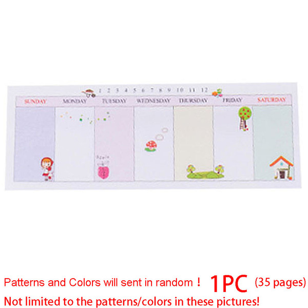 35/40pages DIY Week plan Memo Pad N Times Paper Sticker Writing Note Stationery 16.4*5.9cm #823