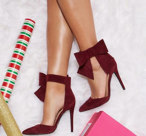 7d4e2fe7537db Chic Burgundy Suede Butterfly Knot Heels Sandals Women Bowknot Decorated  Pointy Stiletto Heel Pumps Cut Out Ladies Dress Shoes Nude Wedges Bridal ...