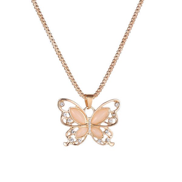 New Fashion Crystal Opal Pendant Necklaces Hollow Butterfly Pendant Women Jewelry Gift Long Chain Sweater Necklace