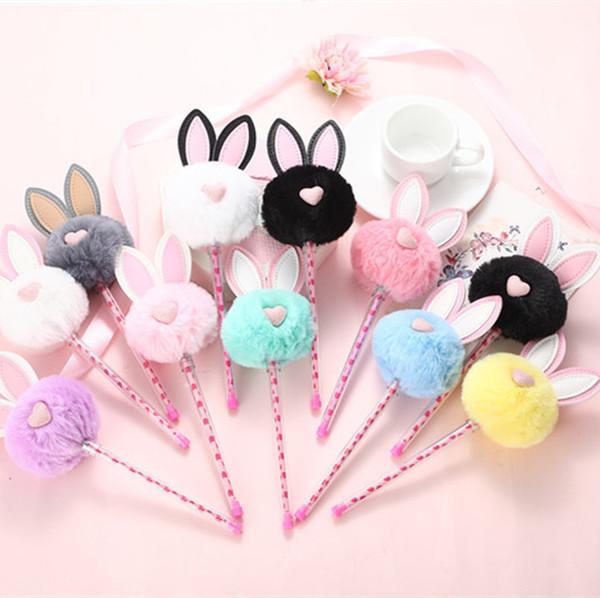 Cute Plush Ears Gel Pen 0.5mm Kawaii Black Ink Neutral Pens for Kids Girls Gift Writing School Supplies Korean Stationery