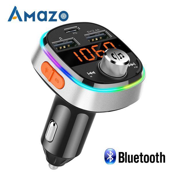 U Disk TF auto Trasmettitore FM PD 3.0 Quick Charge senza fili Bluetooth Stereo Dual USB Card Reader MP3 Player Audio Flash Colorful