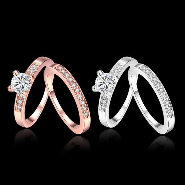 Repubblica Drilling Anello in oro placcato nastro Alliance Mariage coppia anello di gioielli da sposa anelli di coppia donne Accessori matrimonio e Diamond Ring