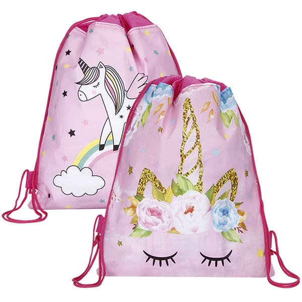 Bolsas uggage bolsos de lazo del unicornio bolsa con cordón para las muchachas del recorrido del almacenaje escuela de la historieta Paquete mochilas fiesta de cumpleaños de los niños Favo ...
