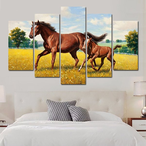 5 Pcs Combinations HD Great wild horses grassland Blue Sky Pattern Framed Canvas Painting Wall Decoration Printed Oil Painting poster