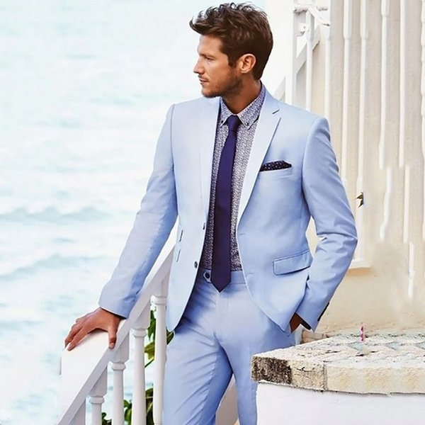 Casual Blue Suit Beach Wedding Suits For Men Custom Summer Groom Best Man Party Prom Male Blazer 2 Pieces Men Suits With Pants