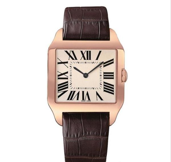 Розовое золото Новые мужские часы Gentalmen роскошные часы моды женщин наручные часы кожа коричневый квадрат набора Женский Relogio MONTRE мужской часы