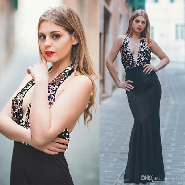 Vestido de noche siempre bonito Vestidos de lentejuelas largos con espalda abierta sexy Cuello en V Vestidos de fiesta de sirena sin respaldo vestidos de fiesta robe de soiree