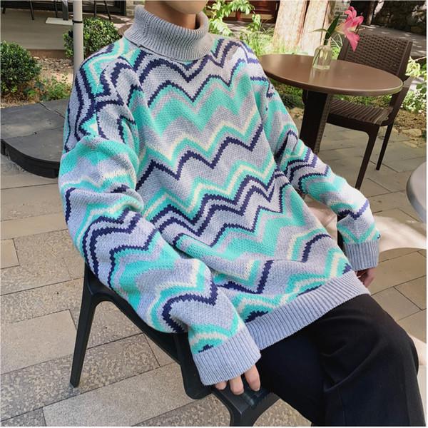 Мужская повседневная свитер весна и зима Новый M-2XL личность мода Дикий хлопок нитрил молодежи полосатый сплошной цвет подходят студенты
