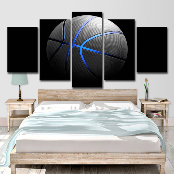 Canvas Wall Art Picture Home Decor Poster 5 Pieces Blue Light Sports Basketball For Living Room Modern HD Printed Painting