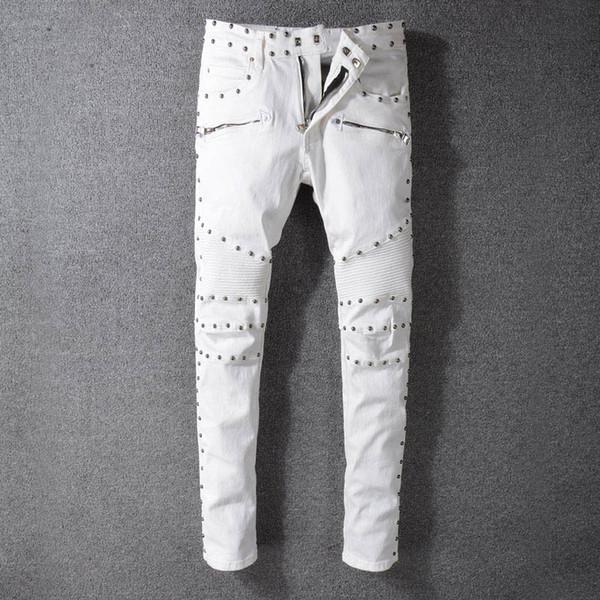 Saf beyaz erkekler pantolon Balsam ain tasarımcı sınırlı sayıda lüks çift Düz pantolon yüksek kaliteli eğilim perçin dekorasyon splice gençlik kot