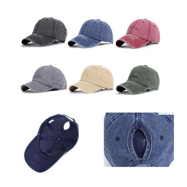 top popular Fashion Design Ponytail Baseball Cap Women Snapback Dad Hat Female Wash Hat Summer Sport Sun Hat dc131 2019