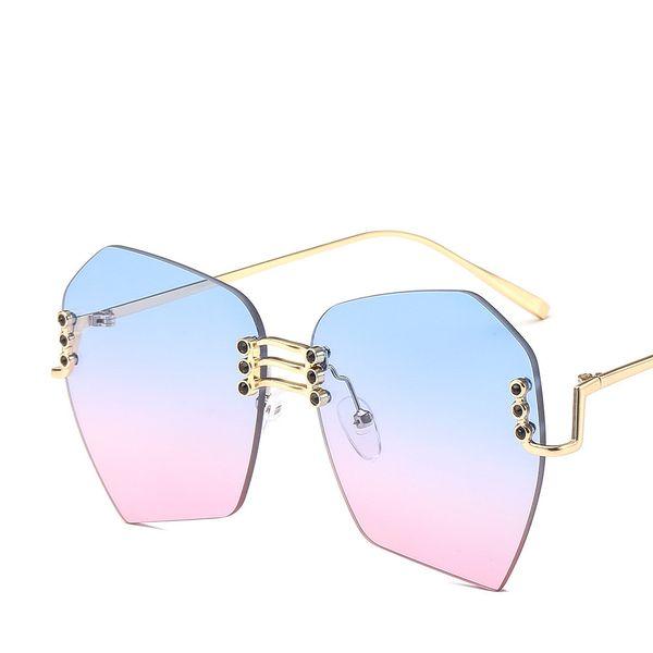 dd32454e550 2019 Fashion Oversized Sunglasses Luxury Brand Gradient Rimless Eyewear  100% UV Protection Popular Flat Glasses Designer Stylish Sunglasses