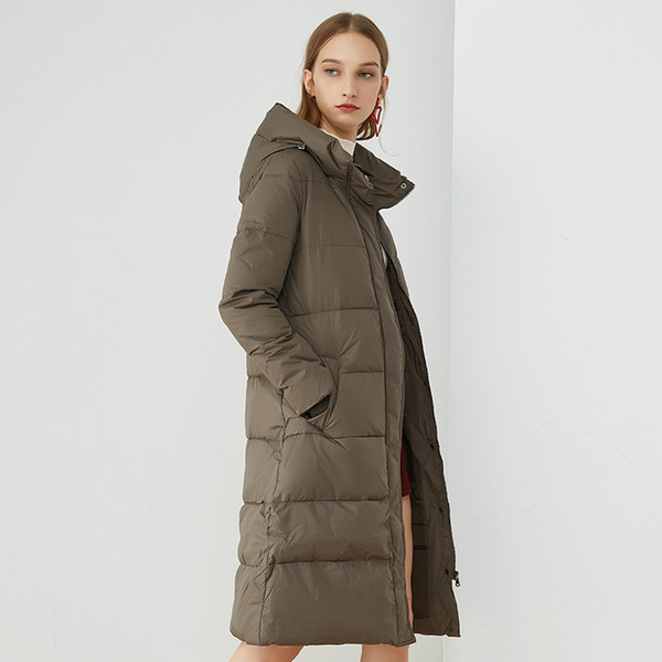ac7439eb2c9 2018 Winter New High-end Women's Fashion Hooded Long Thick Warm White Duck  Coat Female Down Jackets