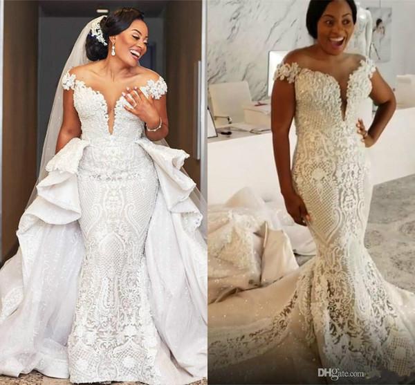 Glitter Mermaid Wedding Dress With Detachable Train Off Shoulder Sequins Appliqued Lace Bridal Gowns Custom Made Plus Size Vestidos De Novia
