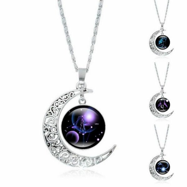 Clearance 12 Constellation Glass Cabochon Pendant Necklace Silver Crescent Moon Jewelry Chain Necklace Women girl Family gifts wholesale