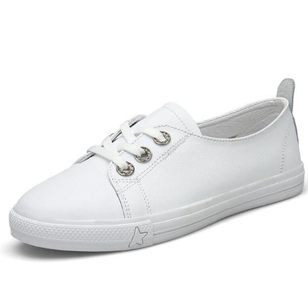 2019 NEUER Frühling Echtes Leder weiße Schuhe Frauen niedrige flache Schuhe, modische Freizeitschuhe Größe 35-40