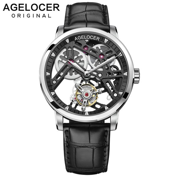 agelocer watch new swiss original watch men power reserve 80 men skeleton 9001a1, Slivery;brown