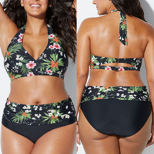 Pacento 6 Styles Print Flower Swimsuit Women Plus Size Xxl High Waist Two Pieces Swimwear 5xl Big Size Bikini 2018 Xxxl Xxxl 5xl Y19052702