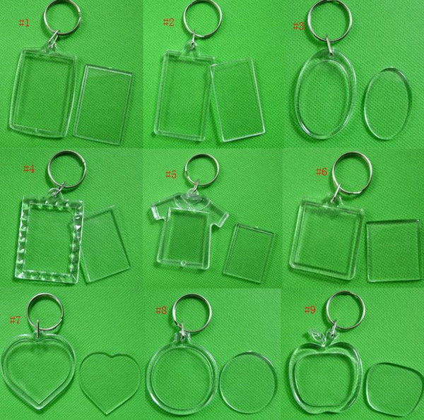 best selling Wholesale DIY Acrylic Blank Photo Keychains Shaped Clear Key Chains Insert Photo Plastic Keyrings Free Shipping