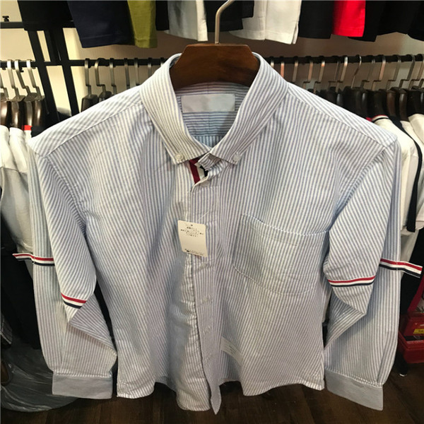 Tide brand 2019 spring and summer men's striped cuffs ribbon design fashion trend Slim long-sleeved casual shirt
